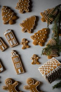 baking gingerbread cookies during holidays